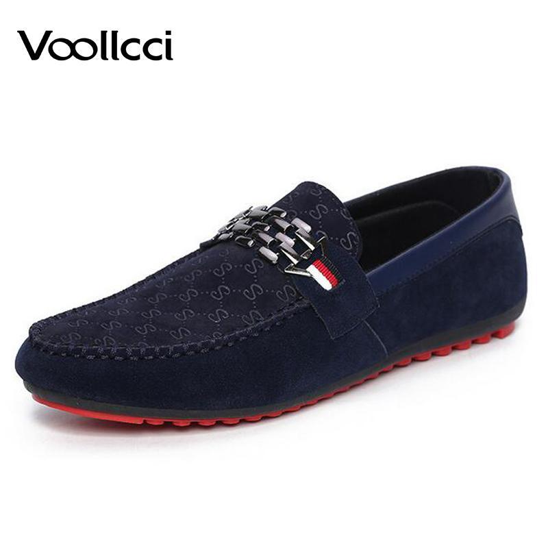 Casuales Mocasín Azul 2018 Planos Hombre Voollcci Hombres Los Zapatos De Mocasines Respirables Sin Cordones Nubuck Cuero Verano TJlF1Kc