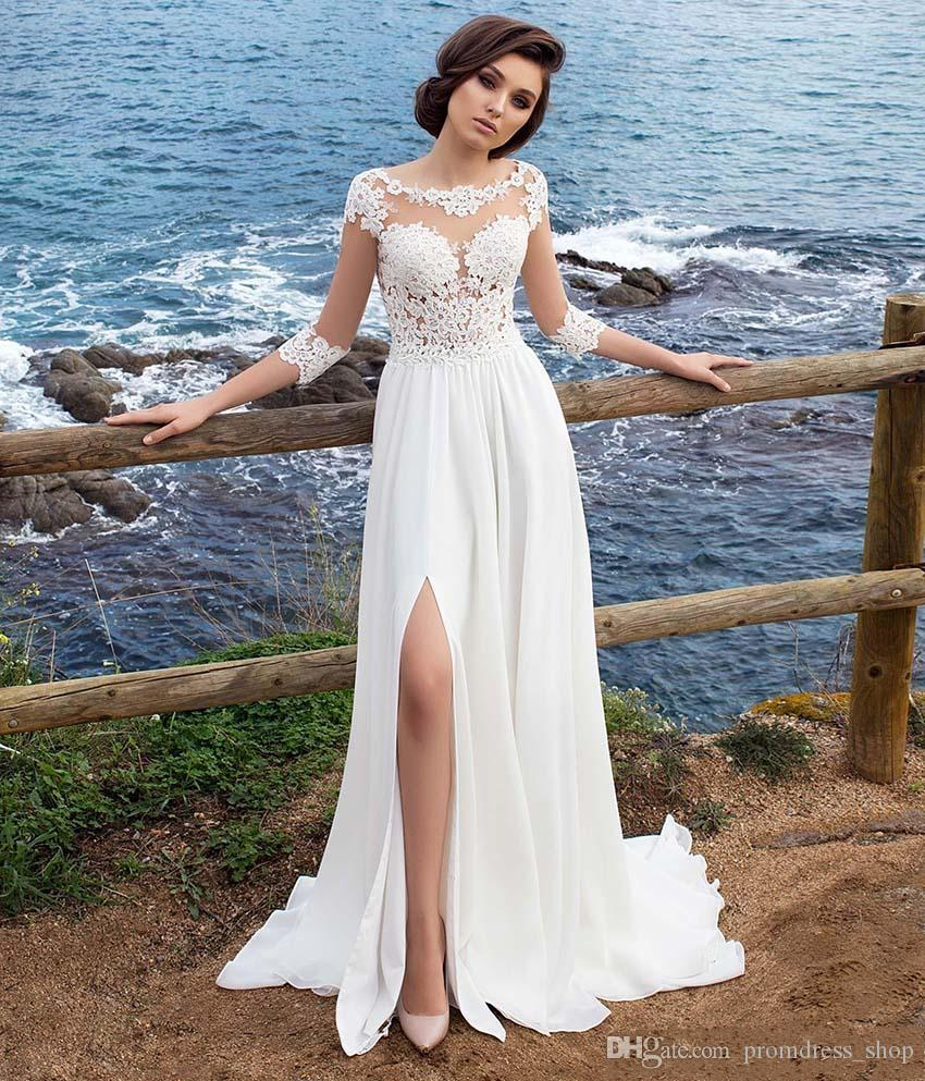 64124c7c4a 3/4 Long Sleeves Beach Bohemian Wedding Dresses 2019 Chiffon Scoop Neck  Appliques Long Bridal Gowns With Side Split
