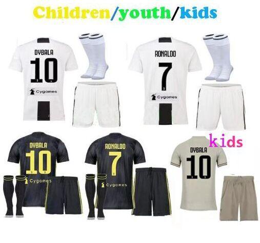 a704a8e90 Free Patches! Cristiano Ronaldo Kids Soccer Jerseys 2019 Away Dybala Maglie  Children Juventus Voetbal Cr7 Juventos Football Kits Juventus Juventus  Jerseys ...