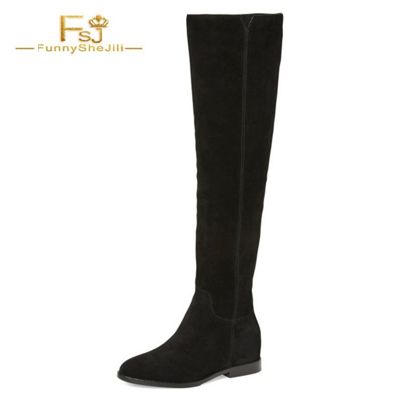 dff6e3414e34 Acheter Femme Chaussures Bottes Longues Noires Bottes Plates Bottes Aux  Genoux Pour Femmes Flock Toe Zipper Design De Mode 2018 FSJ Gros Talons  Casual De ...