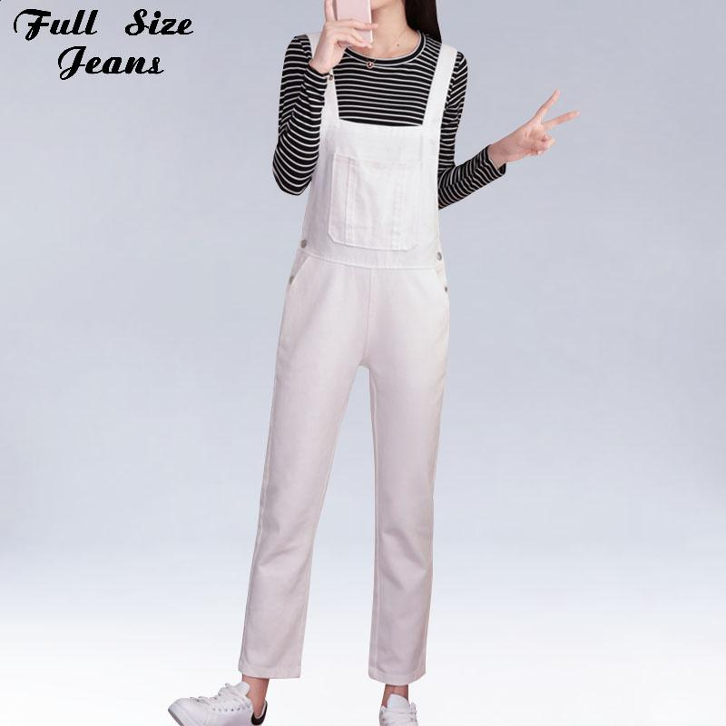 2fd8fd39120d 2019 Plus Size Casual Loose White Denim Jumpsuits And Romper 4XL 5XL Long  Jumpsuits Women Overalls From Redbud06