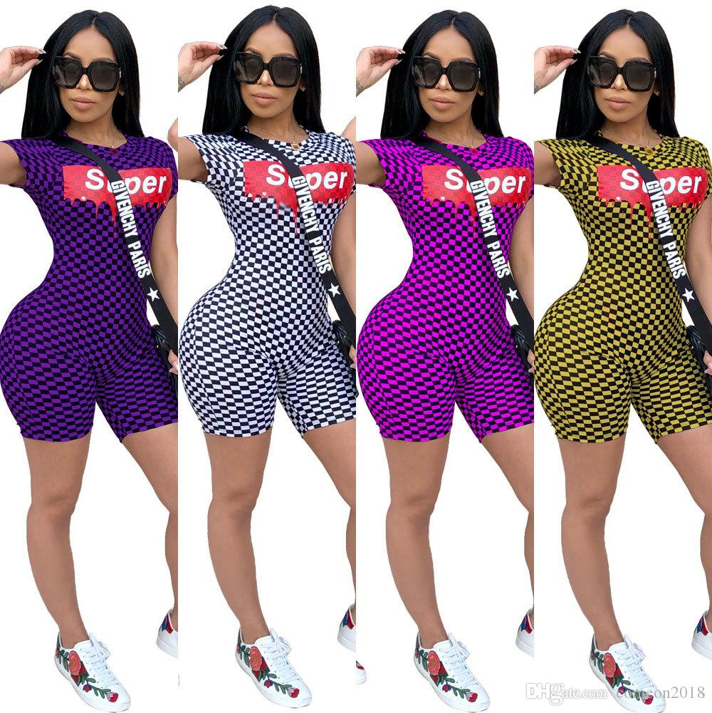 a2b3c6626d1e 2019 Women Clothes Sexy SUPER Letter Bodycon O Neck Costume Elegant Sexy Women  Jumpsuits Playsuit Striped Sexy Short Sleeve Plaid Club Rompers From ...