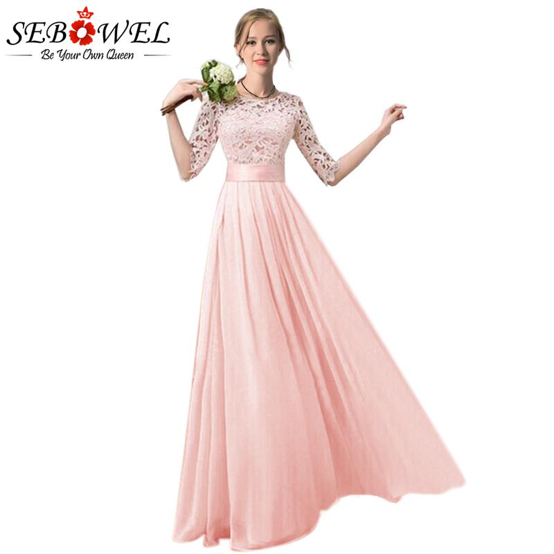 cf883e3b2b4 Wholesale- SEBOWEL 2017 Slim Pleated Long Chiffon Dress Women Plus Size  Lace Sleeve Dress Floor Length Gowns Bridesmaid Long Party Dress Sleeve  Dress ...