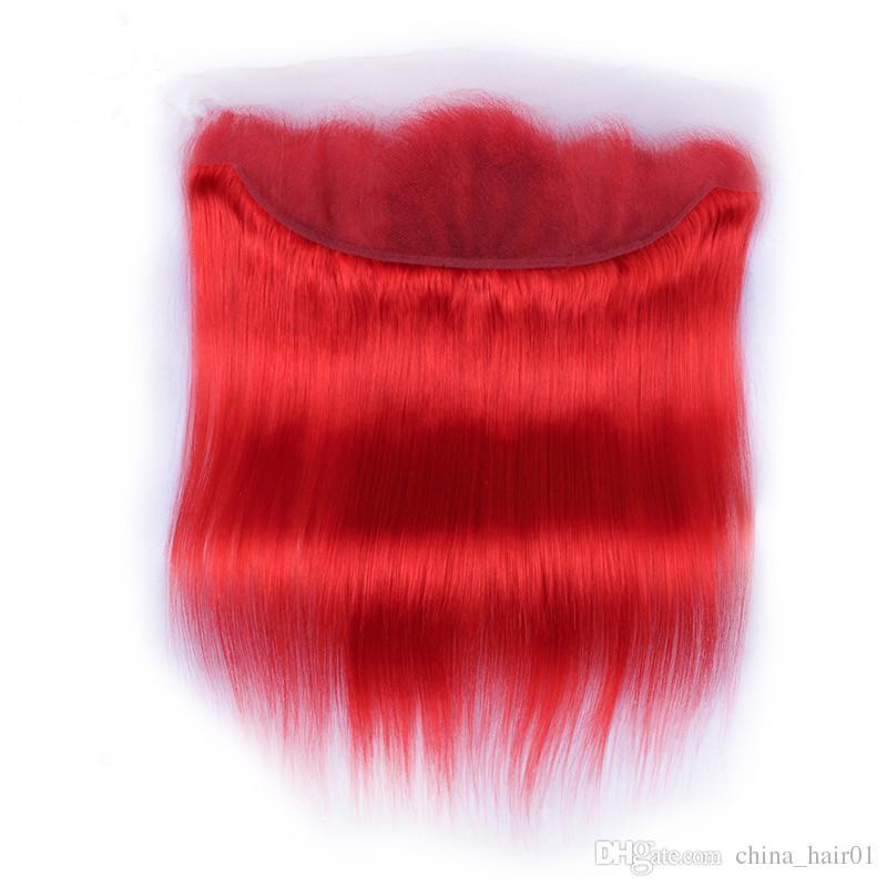 Virginal brasileño rojo puro cabello humano teje con cierre frontal Sedoso color recto rojo lleno de encaje frontal 13x4 con 3 ofertas de paquetes