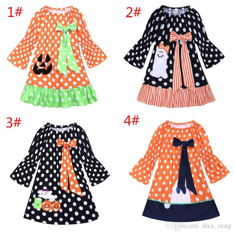 99b228e09 2019 Girls Halloween Costumes Pumpkin Dress Children Dot Print Bow Princess  Dresses Autumn Long Sleeve Fashion Boutique Kids Clothing From Alex_zeng,  ...