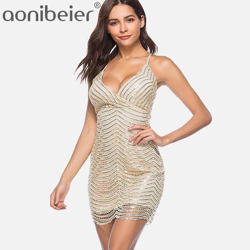 e0ee1e7a878 Acheter Aonibeier Cirss Robe Camisole À Dos Croisé 2018 Summer Fashion Robe  Moulante Taille Haute Sequins Hollow Out Ourlet Festonné De  37.09 Du ...