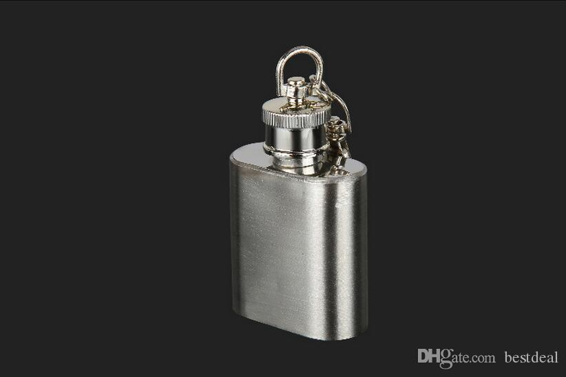 New Portable 1oz Mini Stainless Steel Hip Flask 1OZ 28ml Kettle Water Bottle Alcohol Flagon with Keychain Mini Alcohol Hip Flask Accessories