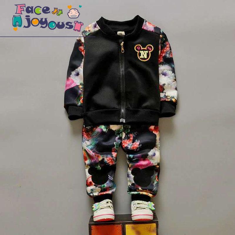 94e8c64af 2019 Children S Clothing Sets Girls Zipper Jacket + Flower Pants ...