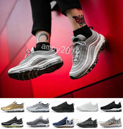 2018 Air Undefeated 97 Ultra Running Shoes Silver Bullet Gold White 97s Men  Women Maxes Mens Trainers Designer Sports Sneakers Chaussures 97 97 Shoes  97s ... 70f36f1e5