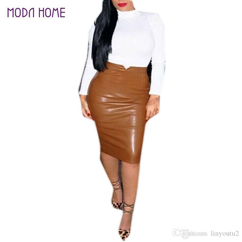 45e391d835d9a 2019 XXL Hot Sale Women Soft PU Leather Skirt High Waist Slim Hip Pencil  Skirts Vintage Bodycon OL Midi Skirt Sexy Clubwear Plus Size From  Linyoutu2