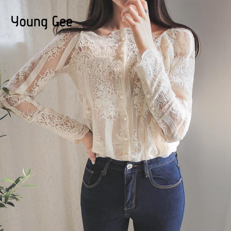 8a5c495af78a4 Young Gee Spring Summer Women Sexy Slash Floral Embroidery Blouses Single  Breasted Lace Long Sleeve Organza Tops Shirts blusa