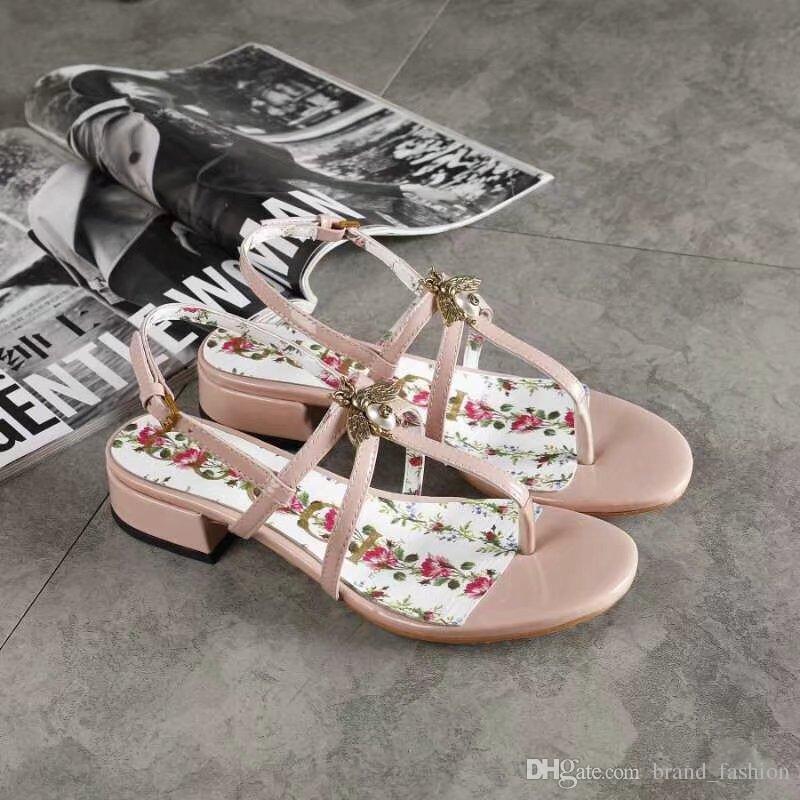 Black Low Heel Patent Women's Flops Leather Summer Pink Flip Sandals 3jRLAq4c5