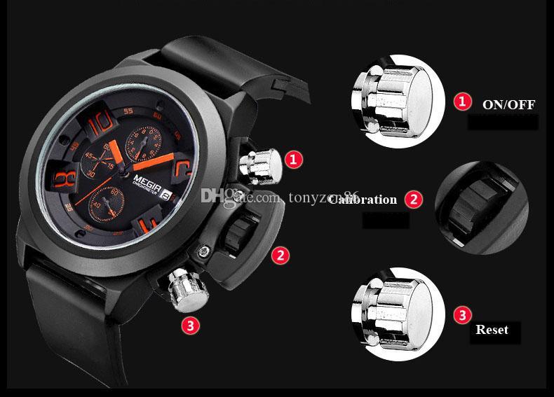 Nouvelles montres hommes de la marque Megir Mens montres automatiques montres skyfall hommes montre à remontage automatique fishos montre meilleur choix des hommes