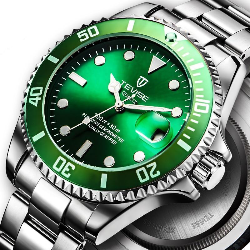 d000f04ada6 Compre Mens Relógios Tevise Luxo Luminosa Verde Água Fantasmas Relógio Dos Homens  Relógios De Quartzo Esportes Relógio De Aço Cinto De Precisão À Prova D    ...