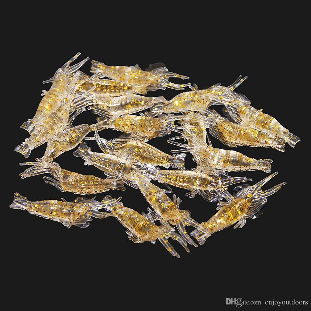 Wholesale artificial bait Glow Soft Shrimp Lure Baits Small Fishing Simulation Luminous Prawn 1.91'' Fishing Bait Accessories
