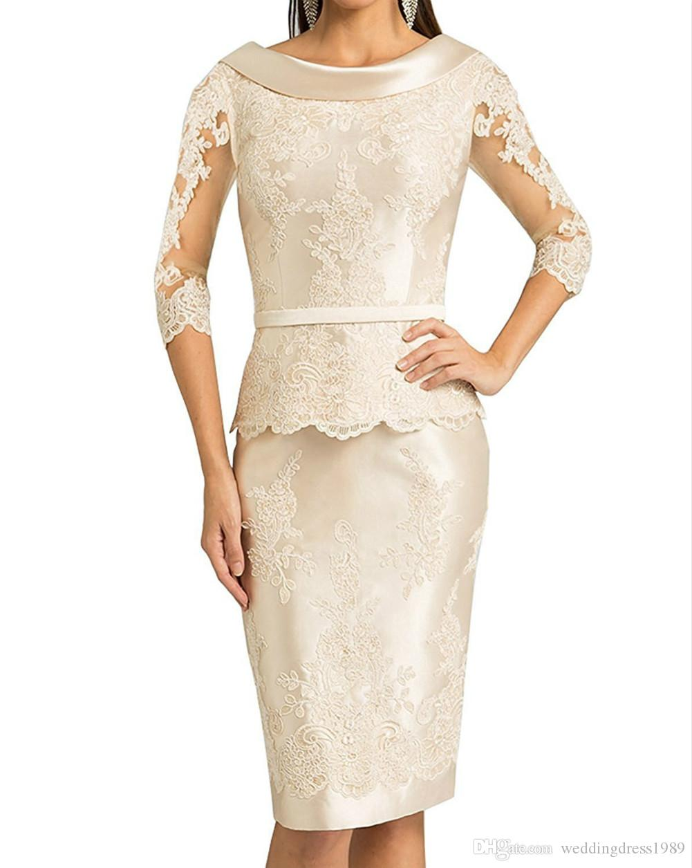Stunning 3/4 Long Sleeve Mother Formal Wear Lace Mother of groom Wedding Guest Dress Evening Mother Of The Bride Dress Suit Gowns