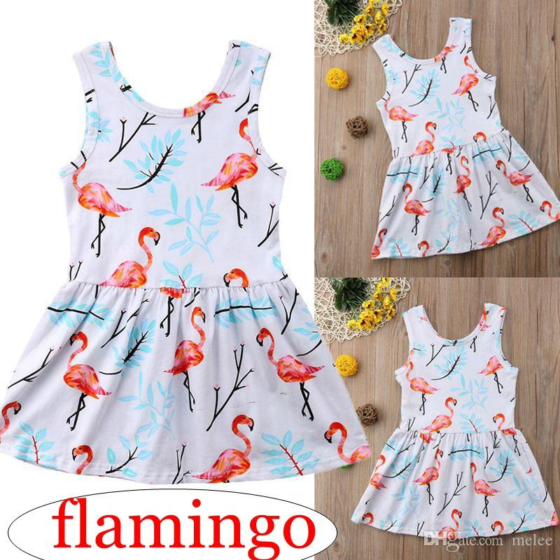 4420c63b339 2019 Ins Summer Girls Flamingo Full Print Vest Party Dresses Kids Cotton  Princess Dress Girls Beach Dresses For 1 6years Free Ship From Melee