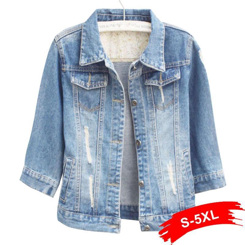 aef96f92223 Women Plus Size Cropped Jean Jacket Light Blue Bomber Short Denim Jackets  Jaqueta Casual Ripped Jeans Coat 3 4 Sleeve 4XL 5XL Y18110501 Summer Jacket  Faux ...