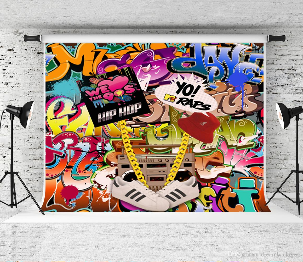 2019 dream 7x5ft graffiti wall backdrop 90s party theme backdrops hip hop 80th 90th birthday photo booth decor background studio from dreambackdrop