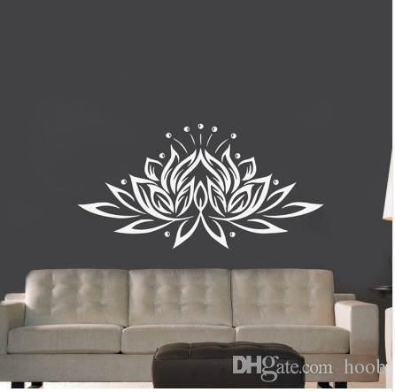Großhandel Große Größe Lotus Blume Vinyl Wandaufkleber Kreative ...
