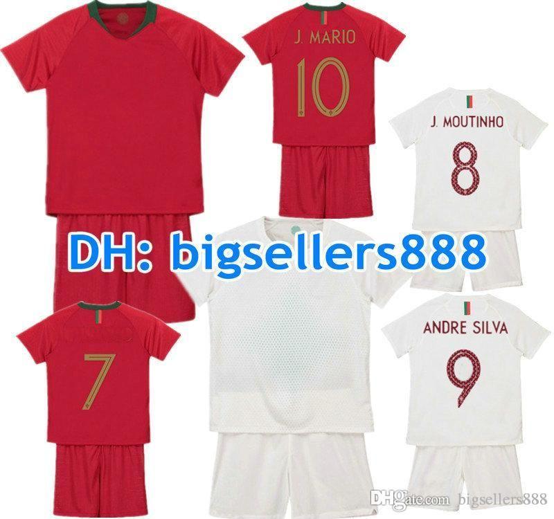 new arrival d2cfa 9d0af CR 2018 World Cup jersey soccer CR7 kids Home Away Football Shirt Kits  adult MEN QUARESMA J.MOUTINHO ANDRE SILVA BERNARDO child Long sleeve