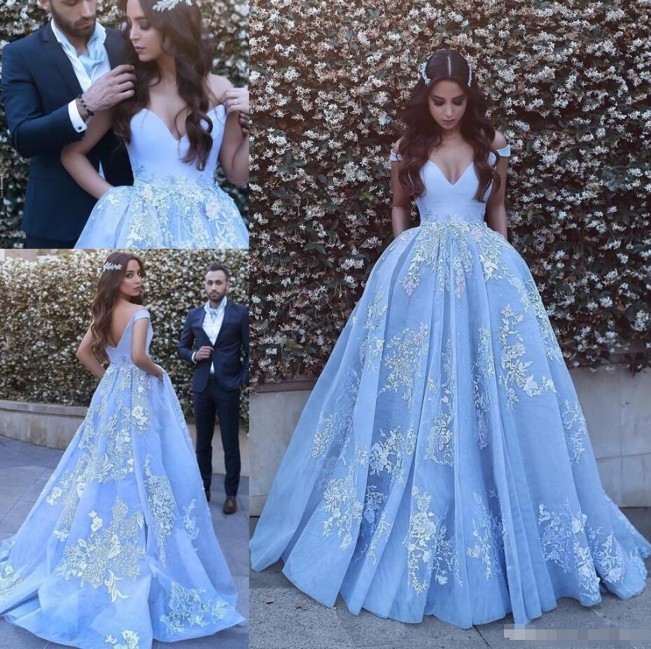 Evening Dresses Pocket Design Lace Applique Ball Gown Prom Dress ...