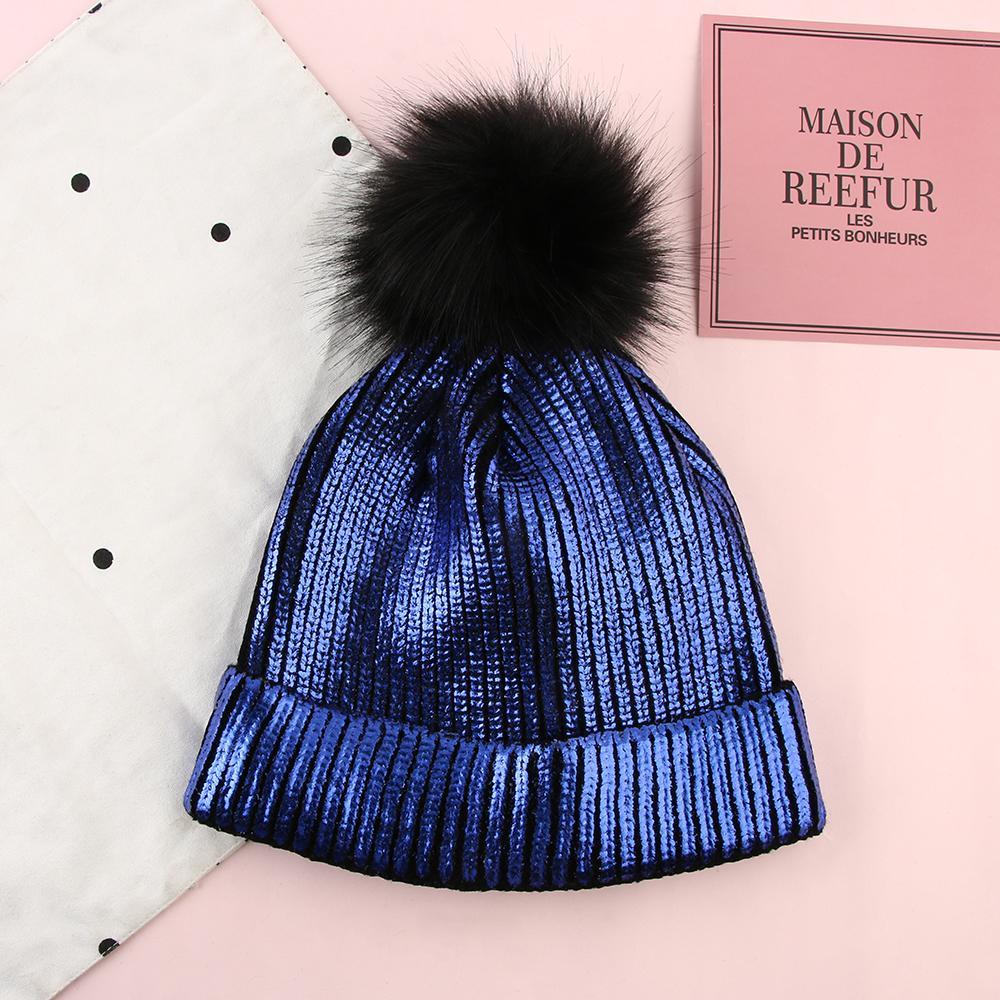 920e8b725fd7ab Women Girls Knitted Bronzing Gold Silver Beanies Ball Hat For Women Winter  Pompom Hats Female Skullies Beanie Bonnet Warm Hat Y18110503 Knit Beanie  Cap Shop ...
