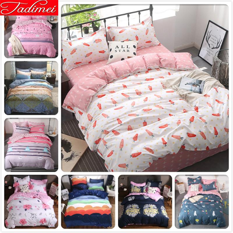 Carrot Pattern Duvet Cover Bedding Set Kids Child Student Girl Soft Cotton Bed Linens Single Full Double Super King Size 150x200