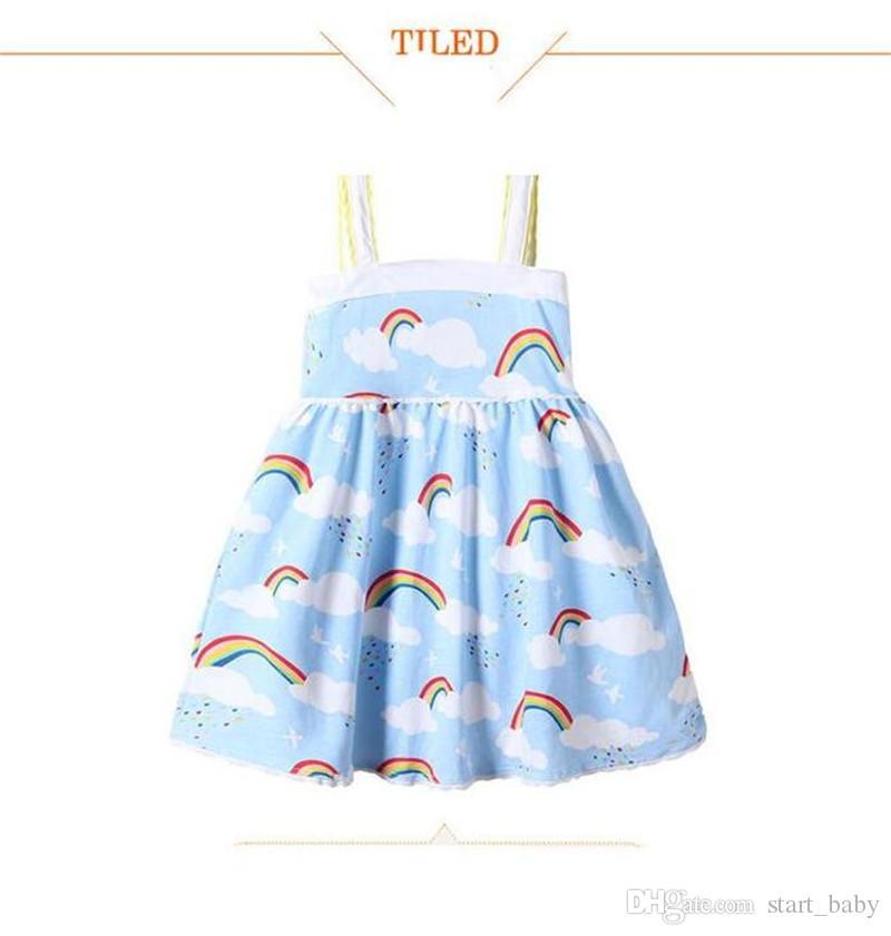Kızlar Gökkuşağı Yelek Elbise Bulut Gökyüzü Baskılı Dantel Kenar Tasarım Askı Etek Yumuşak Nefes Serin Pamuk Kumaş Yaz Elbiseler B11