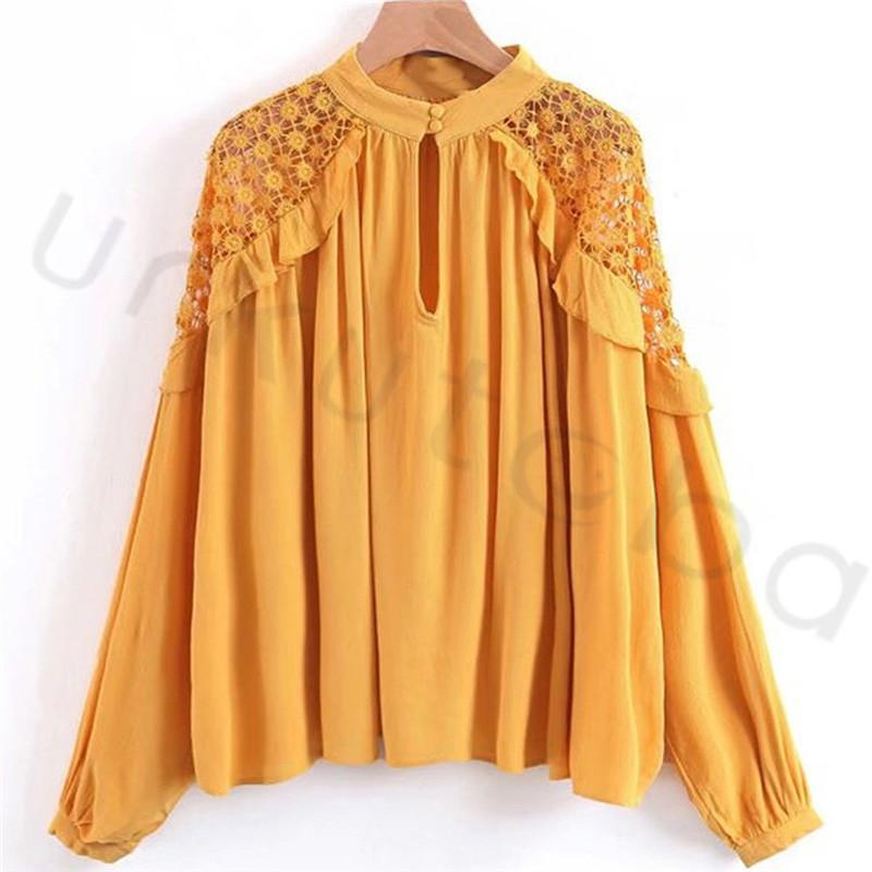 2019 Trendy Women Ladies Blouse Long Sleeve Loose Chiffon Causal