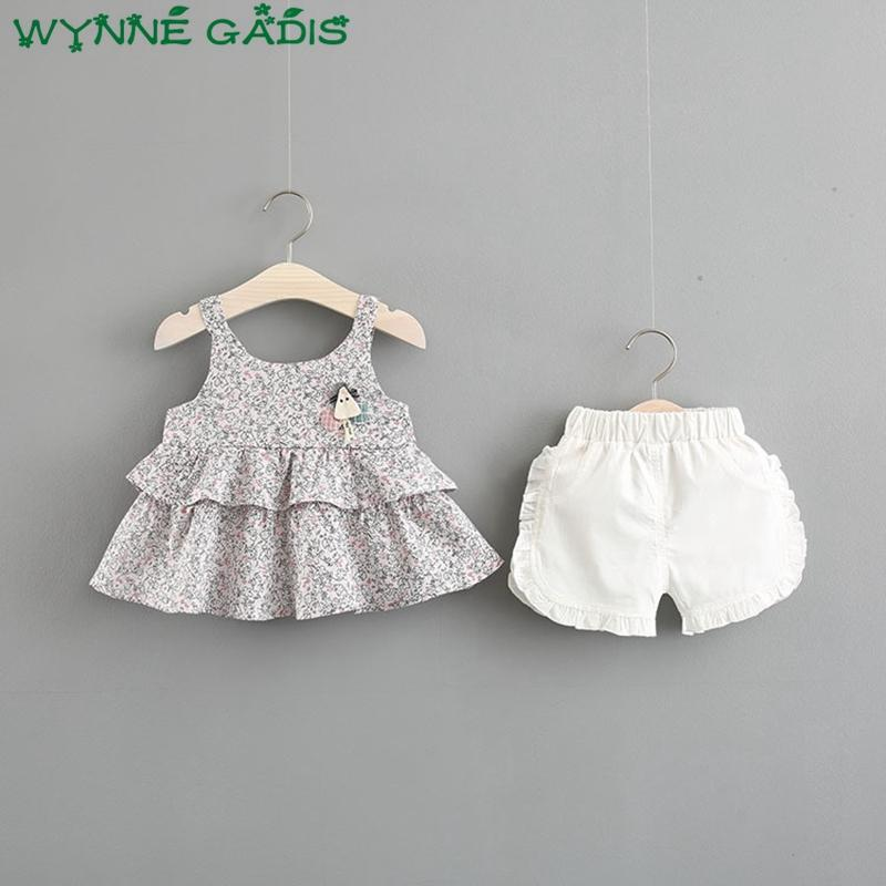 7de4dcb3be18 2019 Summer Baby Clothing Sets Kids Girls Two Pieces Suits Floral ...