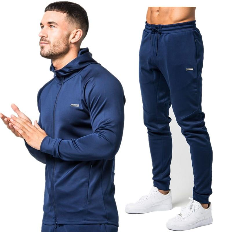 2018 Sport Suit Men Set Running Gym Sportswear Tracksuits Fitness Body building Mens Hoodies+Pants Sport Outwear Clothing Suits Male jooger