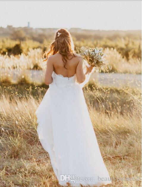 2018 Generous Sweetheart Floor-Length A-line White Wedding Dresses with Lace Open Back Simple Country Style Plus Size Wedding Dresses Cheap