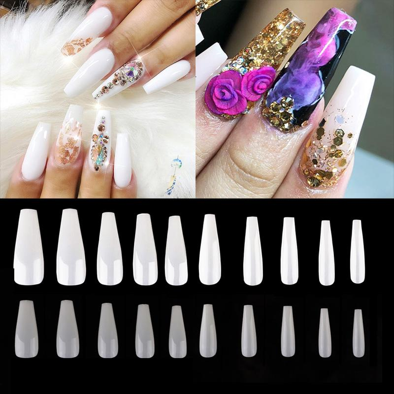 500pcs Coffin Nails Long Ballerina False Nail Art Tips Length Full Cover  Acrylic Fake Nails Natural Clear Manicure Faux Ongle