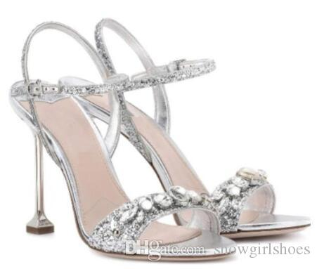 2018 Summer Women Sequin Sandals Gladiator Sandals Glitter Rhinestone  Sandals Bling Bling Sliver High Heels Buckle Wedding Shoes Sandles Wedge  Booties From ...