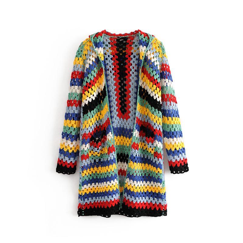 Compre 2018 Suéter De Las Mujeres Con Capucha De Colores Ganchillo Otoño  Invierno Suelta De Manga Larga Ahueca Hacia Fuera La Rebeca Casual Suéter  Fugitivo ... 7b1aafe57a0f