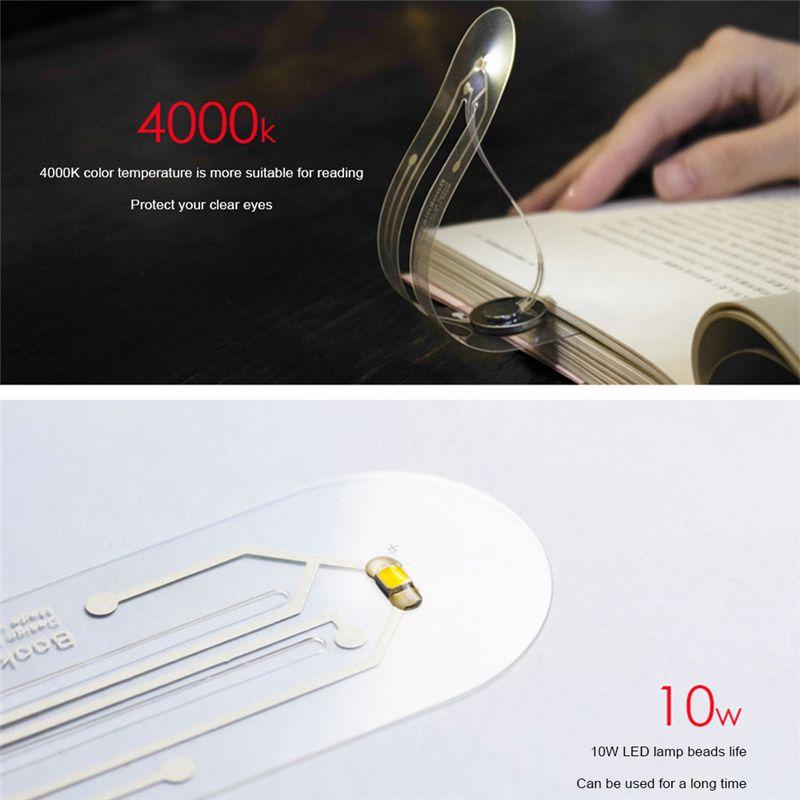 Ultra Thin Flexible LED Book Light Creative Bookmark Innovation Mini Small Table Lamp Novelty Night Light Button Battery Light