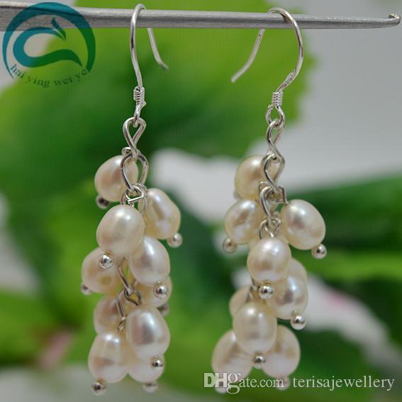 Orecchino a ciondolo in argento sterling 925 A899 con perla in argento bianco