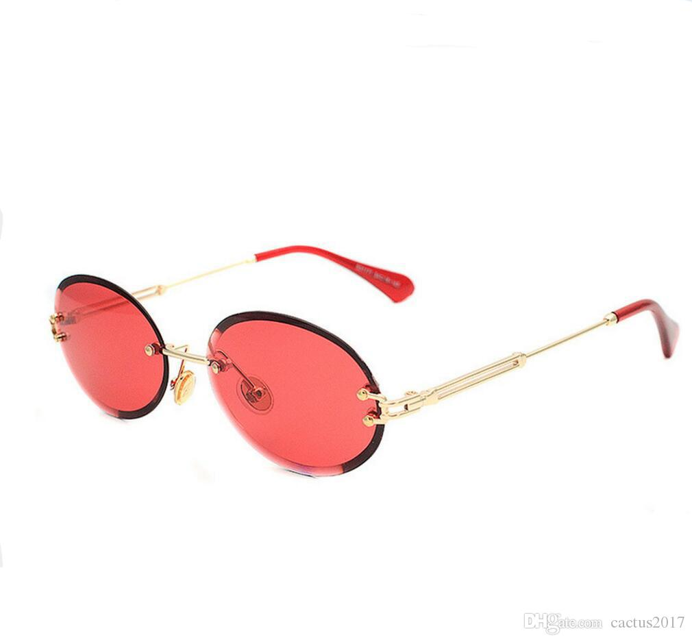 Rimless Small Oval Sunglasses Women Retro 2018 Red Candy Color ...