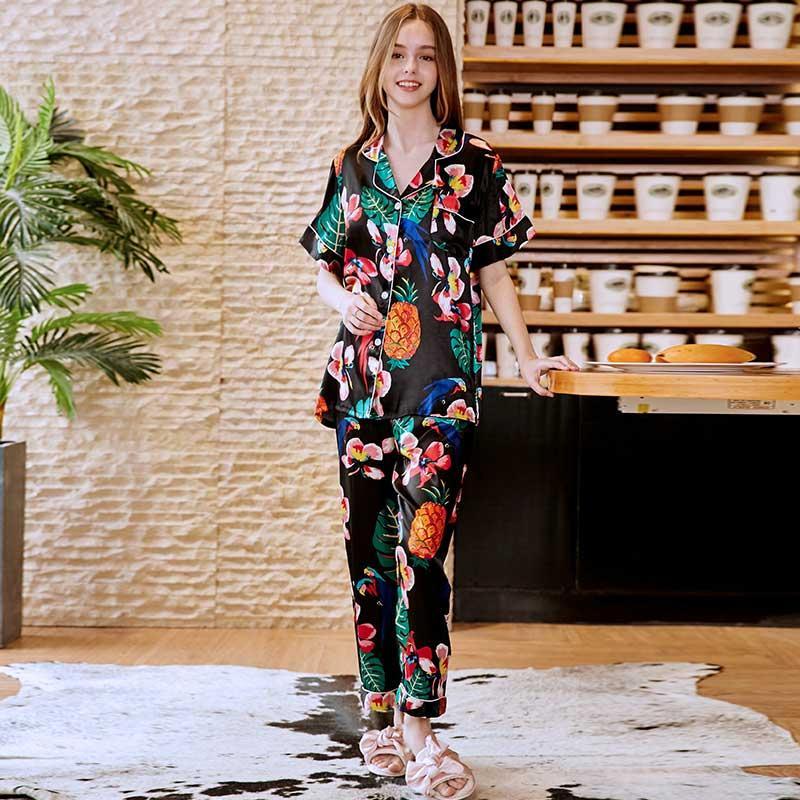5f594facdb 2019 Women Pajama Set Nightwear Night Suit Silk Trouser Suits Lounge Wear  Sleeping Suit Pyjama Shirt Pant Set Indoor Clothing Vintage From ...