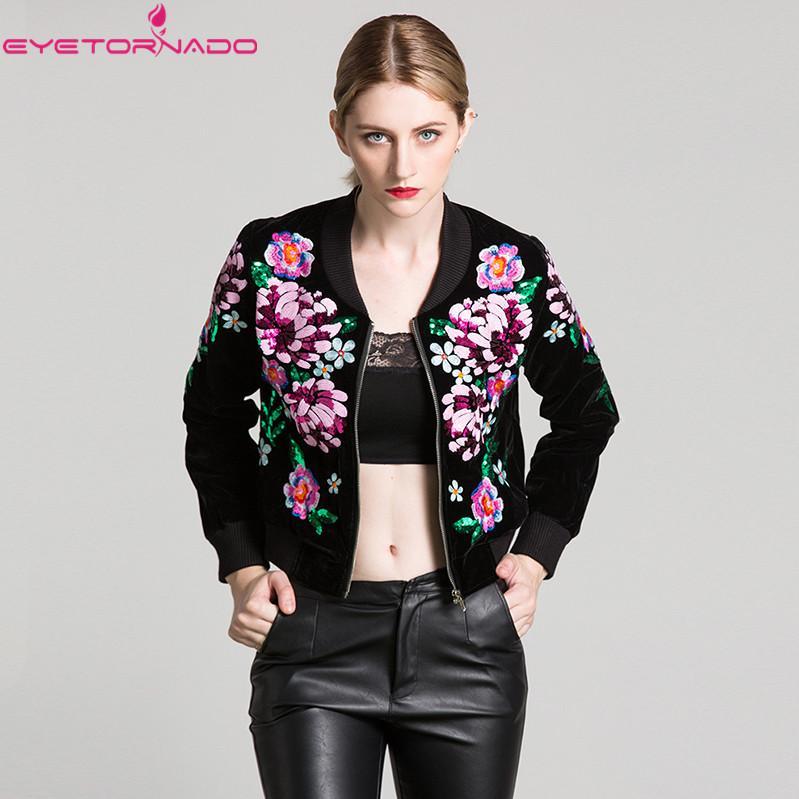 Women Flower Embroidery Sequined Short Baseball Velvet Jacket Slim