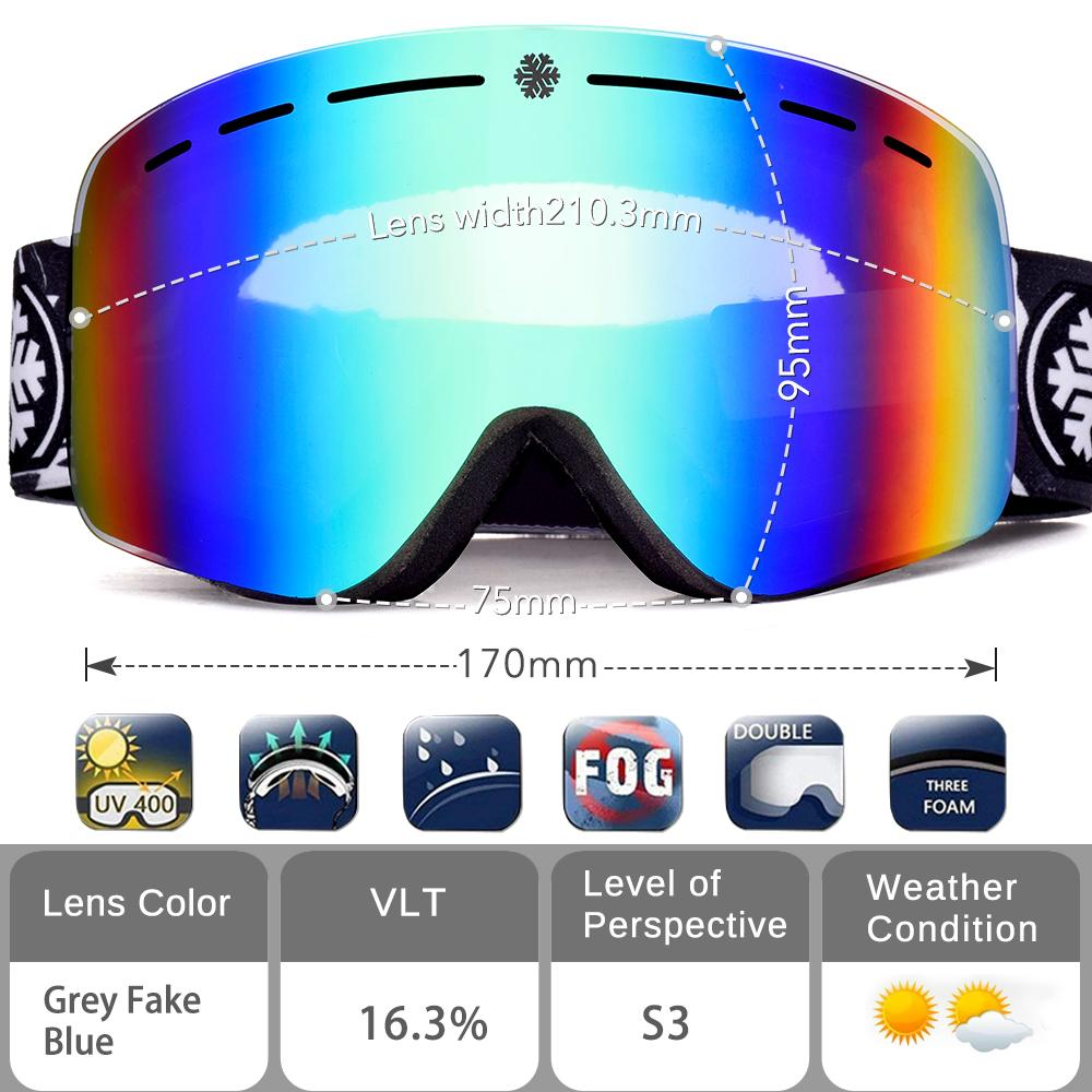 94562a575282 2019 Snowledge Ski Snow Goggles With OTG Snowboard Dual Layers Lens  Frameless Interchangeable Lens 100% UV400 For Men Women Adult From Wowsky