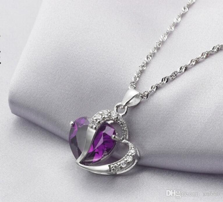 New 925 sterling silver necklace women's fashion Amethyst heart pendant Japanese and American jewelry products