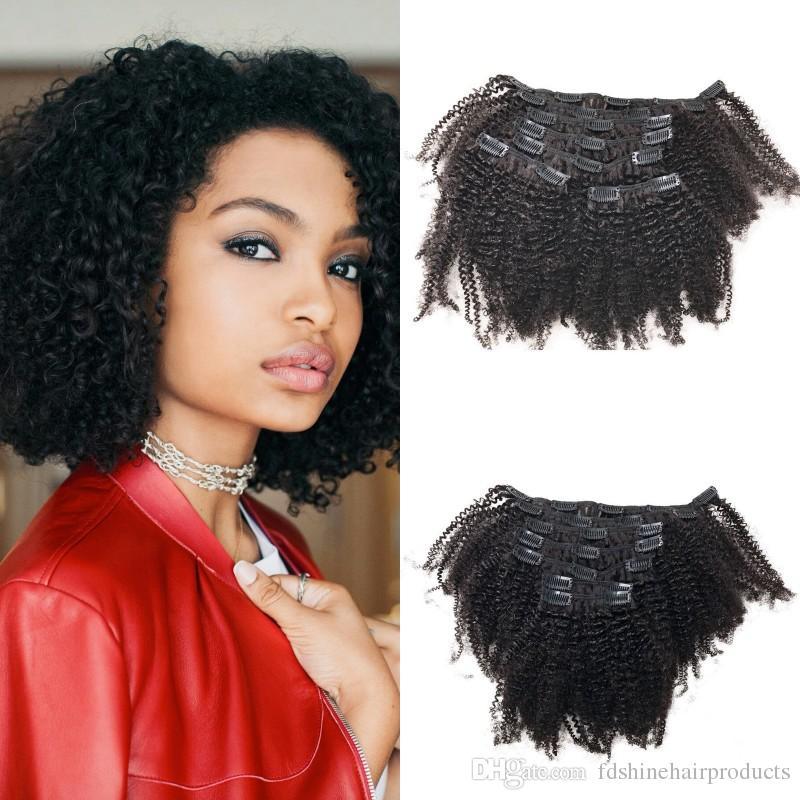 100 Naturral Human Hair 4b4c Kinky Curly Clip In Human Hair