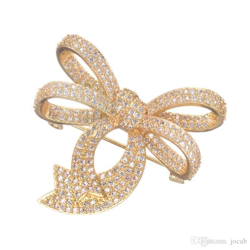 Luxury Cactus Brooches Yellow Gold Filled Multi-color Cubic Zirconia Brooch Pin