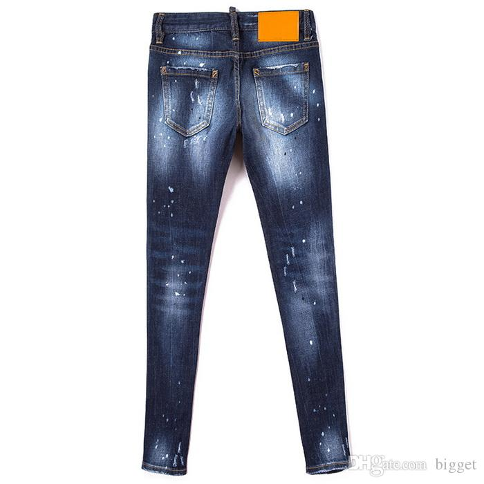 Skinny Fit Jeans Cool Girl Famous Design Paint Splattered Destroyed Fading Wash Effect Denim Trousers Ladies