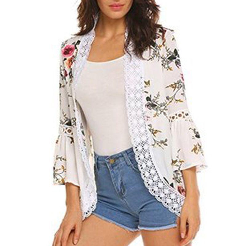c0cfa12ac Flare Sleeve Crochet Lace Chiffon Jacket Women Summer Lace Patchwork Kimono  Cardigan Floral Print Front Open Outwear Coat