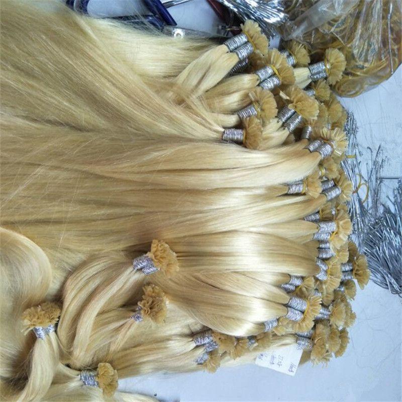 Keratin U Tip Hair Extension 0.5g strand 200g Prebonded Human Hair Brasileño recto Virgin Hair 12