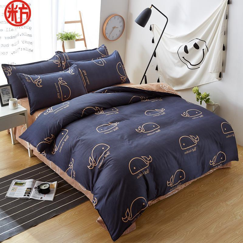 new sheet, pillwocase& duvet cover set WHALE bedding set pinetree bed black white bed linen wholesale home bedding54