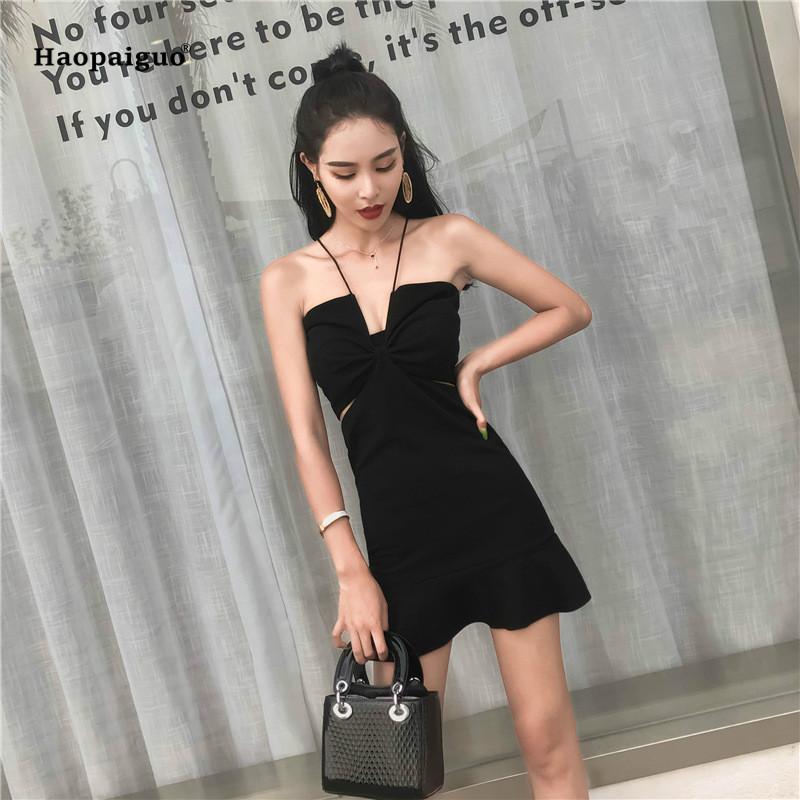 Compre 2018 Sirena Sólida Vestido De Verano Las Mujeres Sin Mangas Negro  Correa De Espagueti Sexy Beach Mini Vestido Casual Vestidos Coreanos Moda  Mujer A ... 4b16e3dc021a